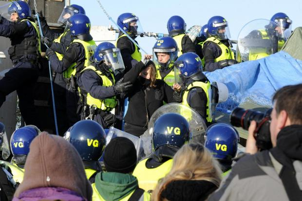 Eviction - Riot police clashed with protestors and residents resisting the councils bid to evict them