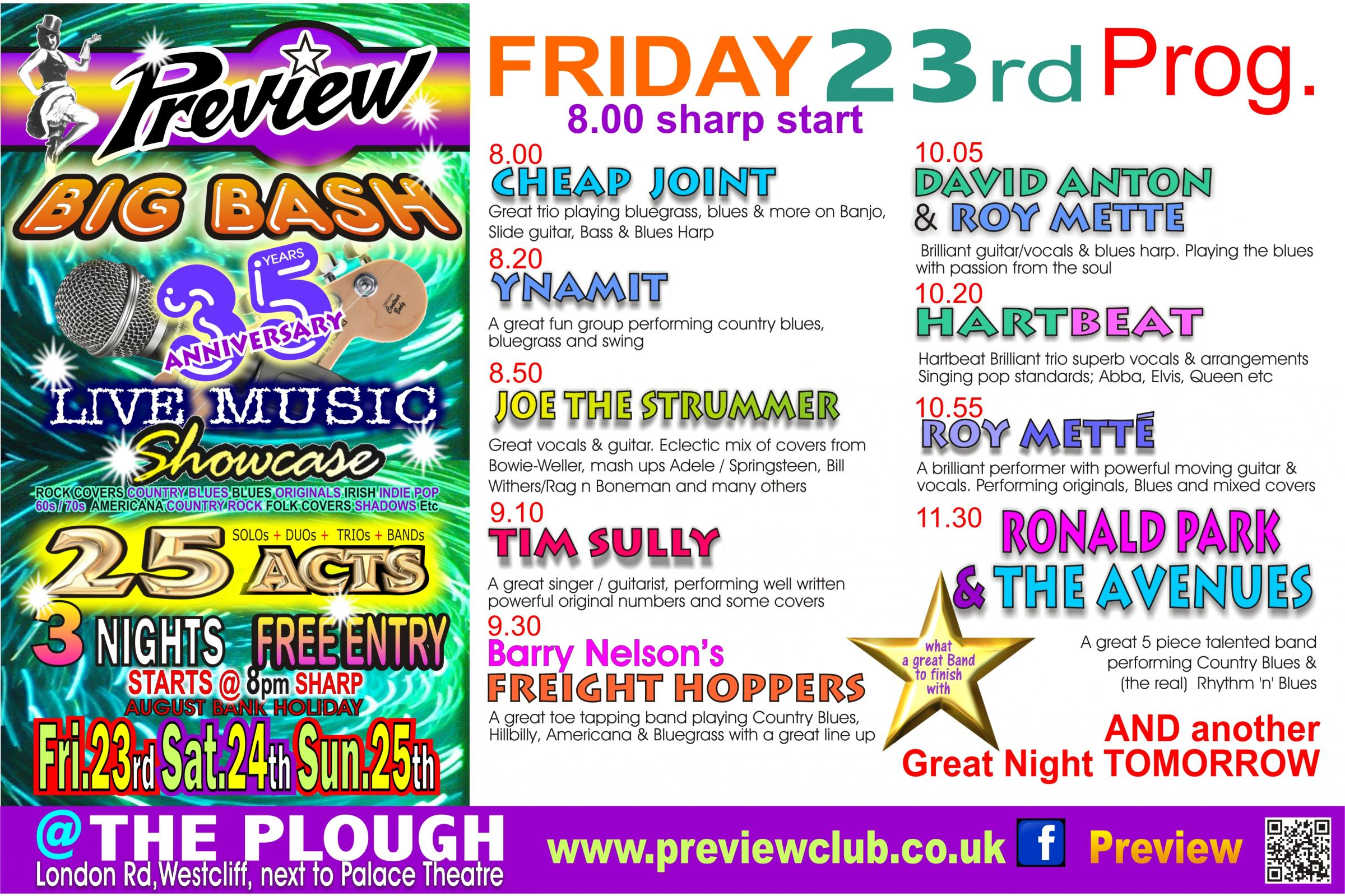 PREVIEW's Live Music BIG BASH Friday 23rd