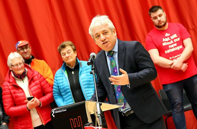 27012018 Photographer Louise Smith.Chancellor John Bercow speaks to the visitors prior to cutting the ribbon..Opening of University of Essex Sports Arena..