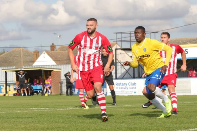 On target - Brad Warner scored in Bowers & Pitsea's draw at Canvey Island Picture: NASH PHOTOGRAPHY