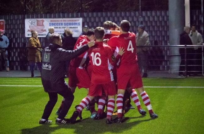 Scenes - Bowers & Pitsea celebrate after beating Canvey Island in the penalty shoot-out Picture: NASH PHOTOGRAPHY