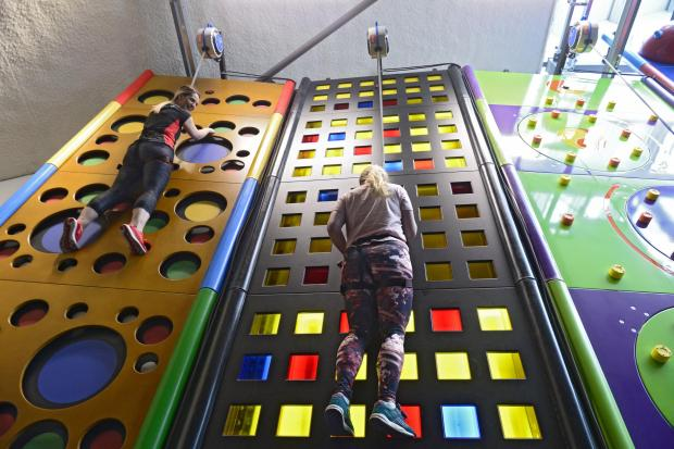 Catriona Stewart tries out the new Clip 'n Climb at Kelvin Hall  Picture: Jamie Simpson