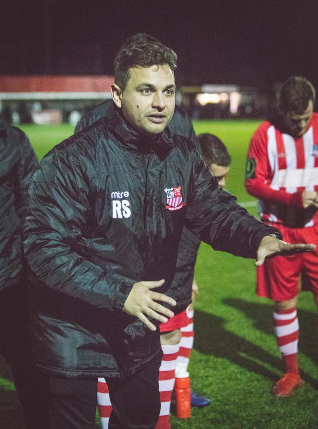 Dejected - Rob Small saw his Bowers & Pitsea side miss out on a place in the FA Cup first round Picture: NASH PHOTOGRAPHY