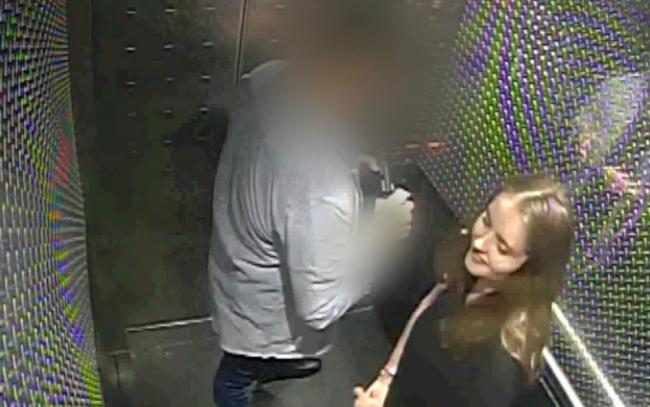 Undated handout cctv grab issued by Auckland City Police of Grace Millane inside a hotel lift with the 27-year-old male who is accused of her murder. PA Photo. Issue date: Thursday November 7, 2019. The male defendant, who cannot be named for legal reason