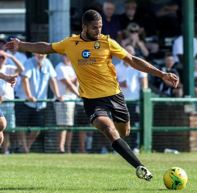 Brace - East Thurrock United's Frankie Merrifield Picture: JACQUES FEENEY