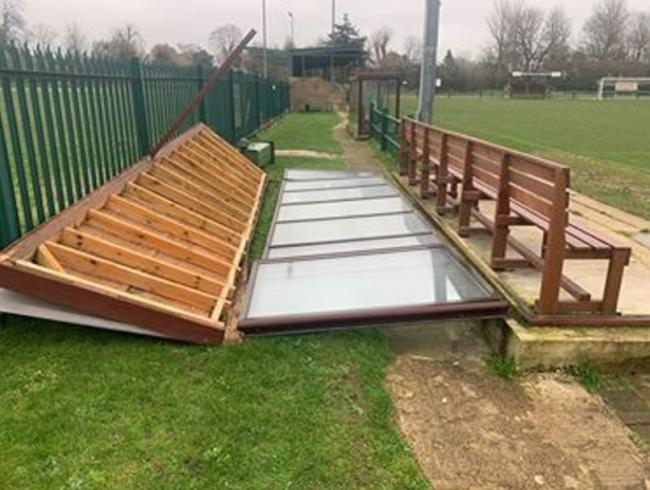Destruction - Storm Ciara tore through the Grayers Graphics Stadium and ripped a dugout to pieces