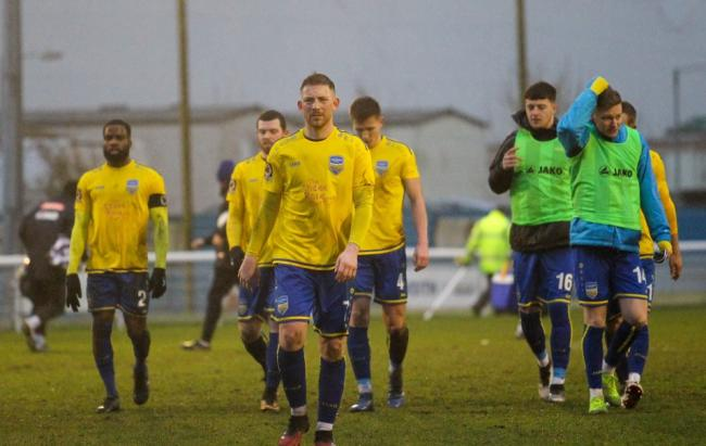 Frustrated - Concord Rangers' players at the final whistle  Picture: PAUL RAFFETY