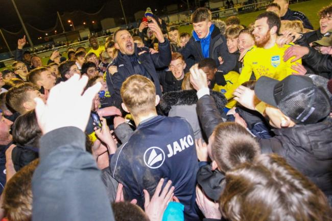 Scenes - Danny Scopes led the celebrations after Concord Rangers booked their place in the semi-finals of the FA Trophy Picture: PAUL RAFFETY