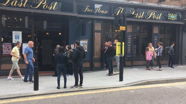 Basildon Standard: The scene outside Wetherspoons' The Last Post in Southend