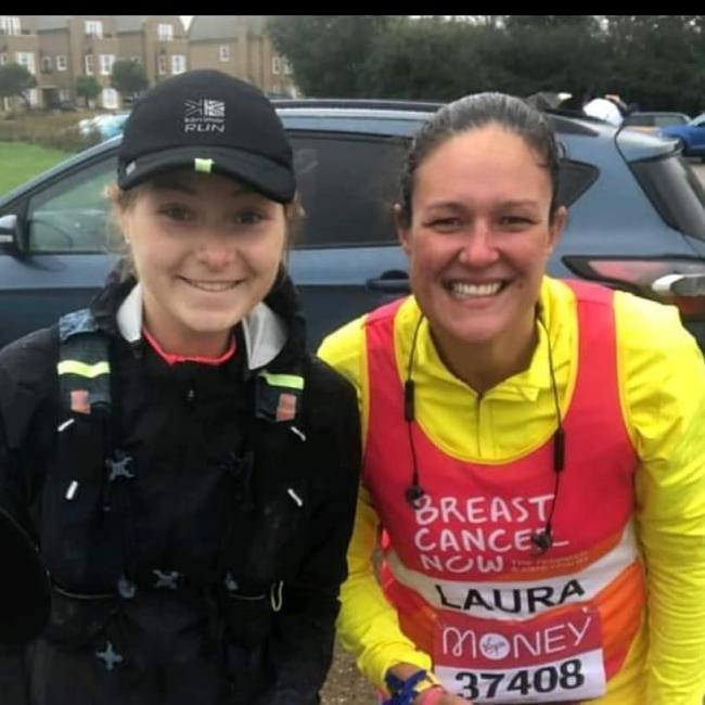 Raising money for charity - Laura Davis (right) clinched close to £3,000 in donations by competing in the virtual London Marathon