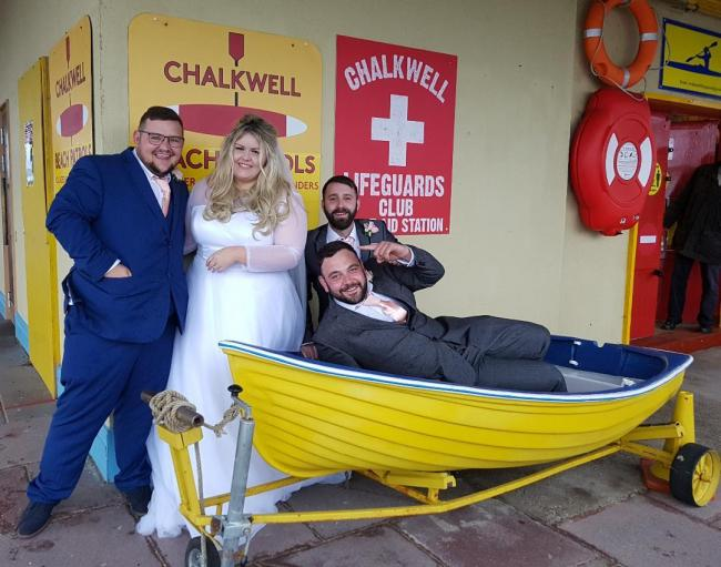 Big day - Jade and Alfie Hillier with their wedding guests at the Chalkwell Lifeguards Club shelter