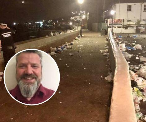 Litter - the mess that was left behind after booze-fuelled yobs took to Old Leigh. Inset: Mike Wells
