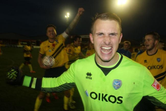 Celebration time - Canvey Island goalkeeper Bobby Mason shows his joy at the final whistle   Picture:  KJA SPORTS IMAGES