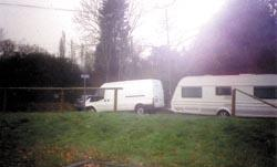 Basildon Standard: On their way  one of the travellers leaves the Dale Farm site