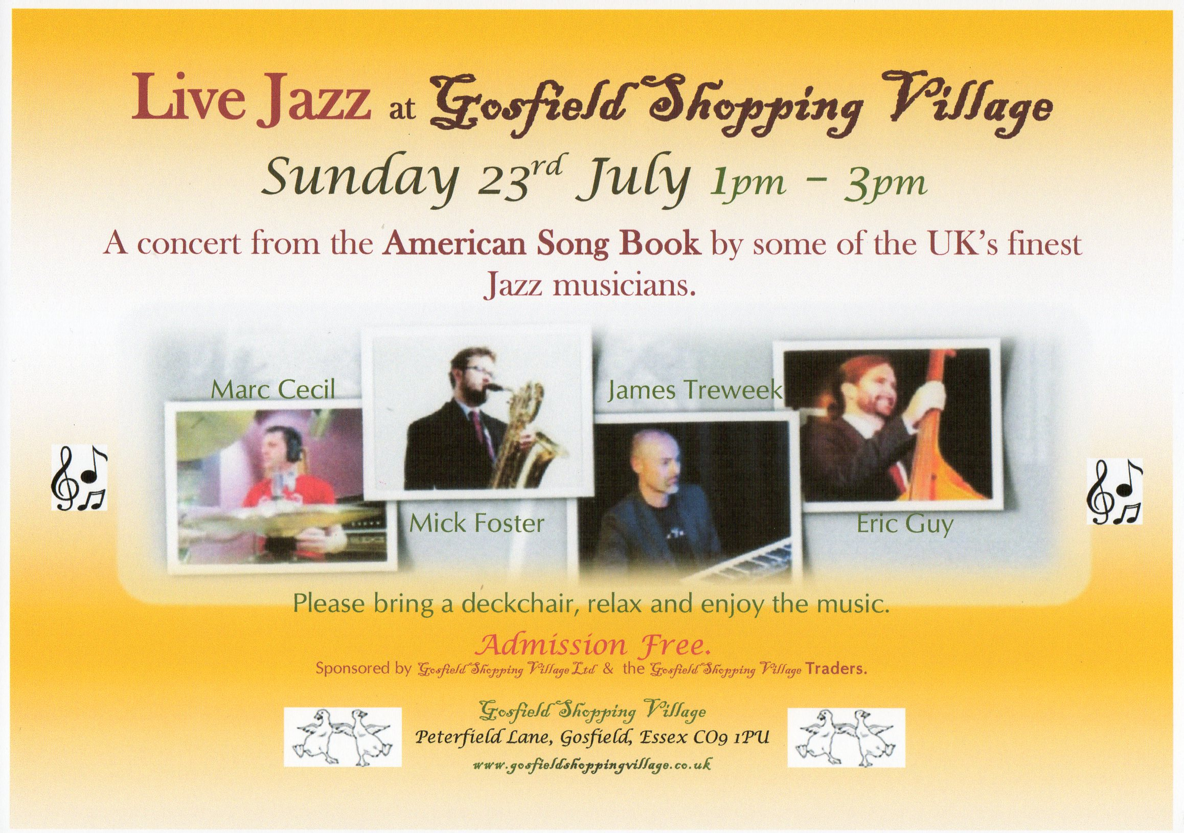 Live Jazz at Gosfield Shopping Village.