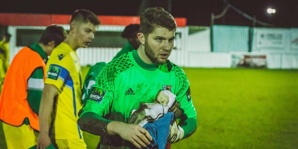 Heroic - Callum Chafer saved two penalties in the win over Tilbury 	        Picture: NASH PHOTOGRAPHY