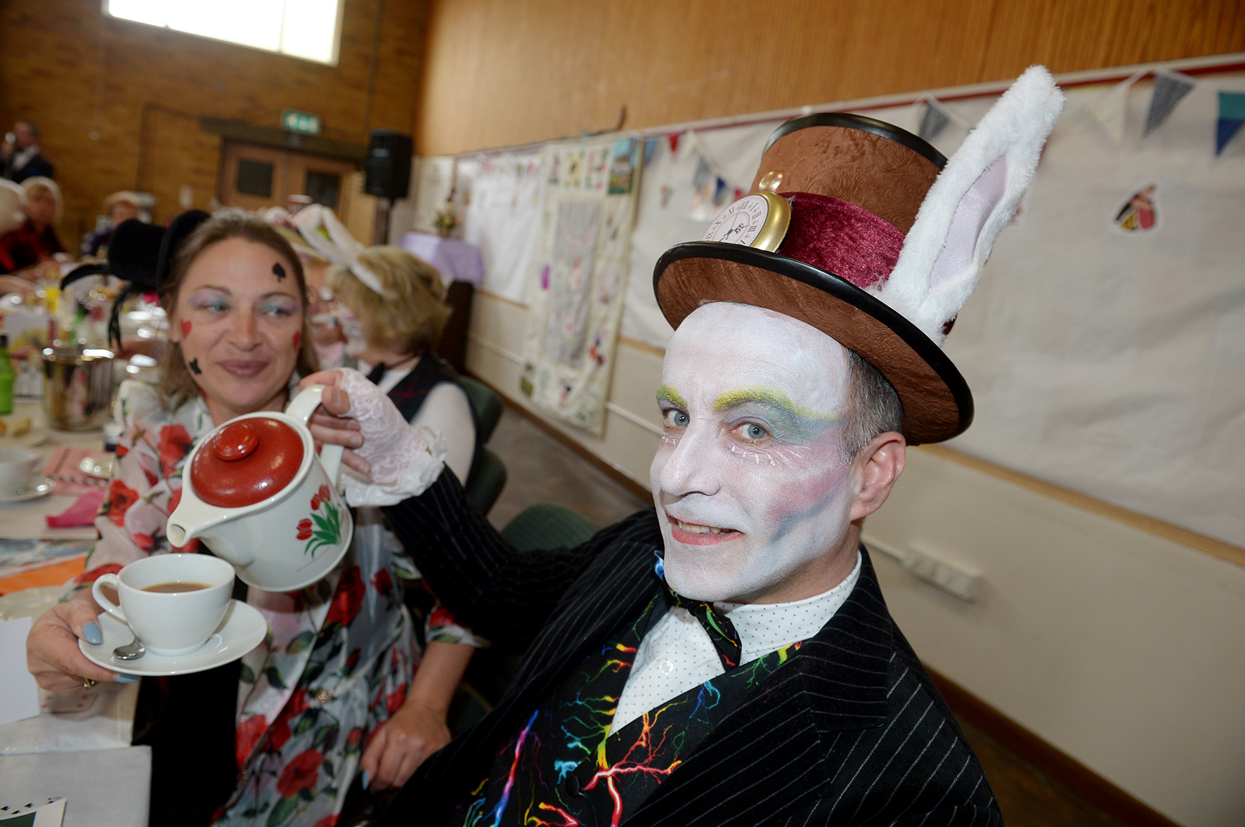 Dawn Power and Daniel Belcher.St Nicholas Church Hall, 208 Long Rd, Canvey.Women's Institute from Furtherwick, Knightswick and Benfleet  has 150 members attending an afternoon tea themed on the Mad Hatters Tea Party.