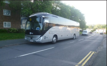 Nuisance - one of the coaches parked in the road in Basildon