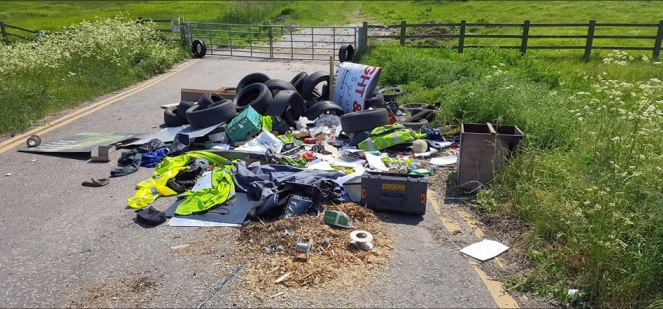 N Mess - the waste dumped in Roscommon Way last weekend