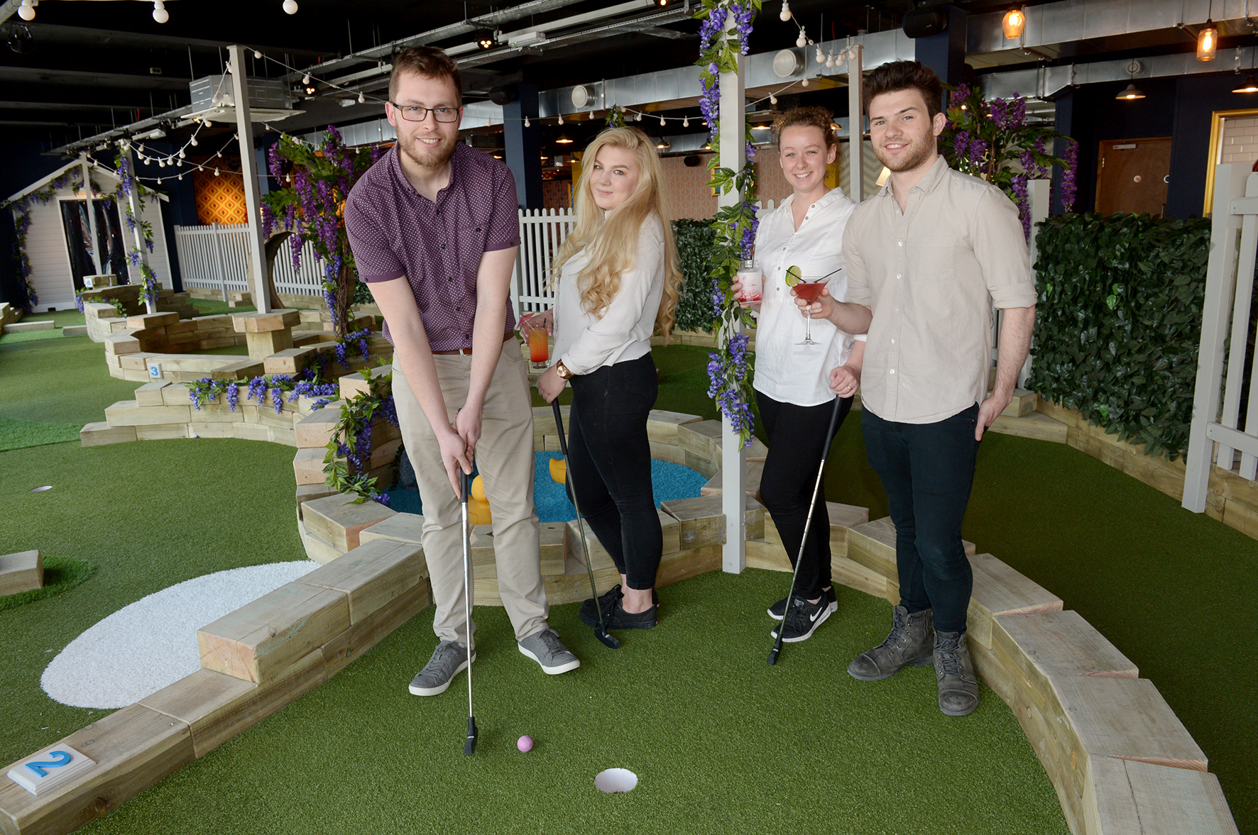 George Bejko-Cowlbeck with Staff - Riley Bennett,  Charlotte Doyle-Godfrey, Aaron Fleming..Caddies, 12 London Road, Southend about WHSmith  has opened- crazy golf restaurant!.