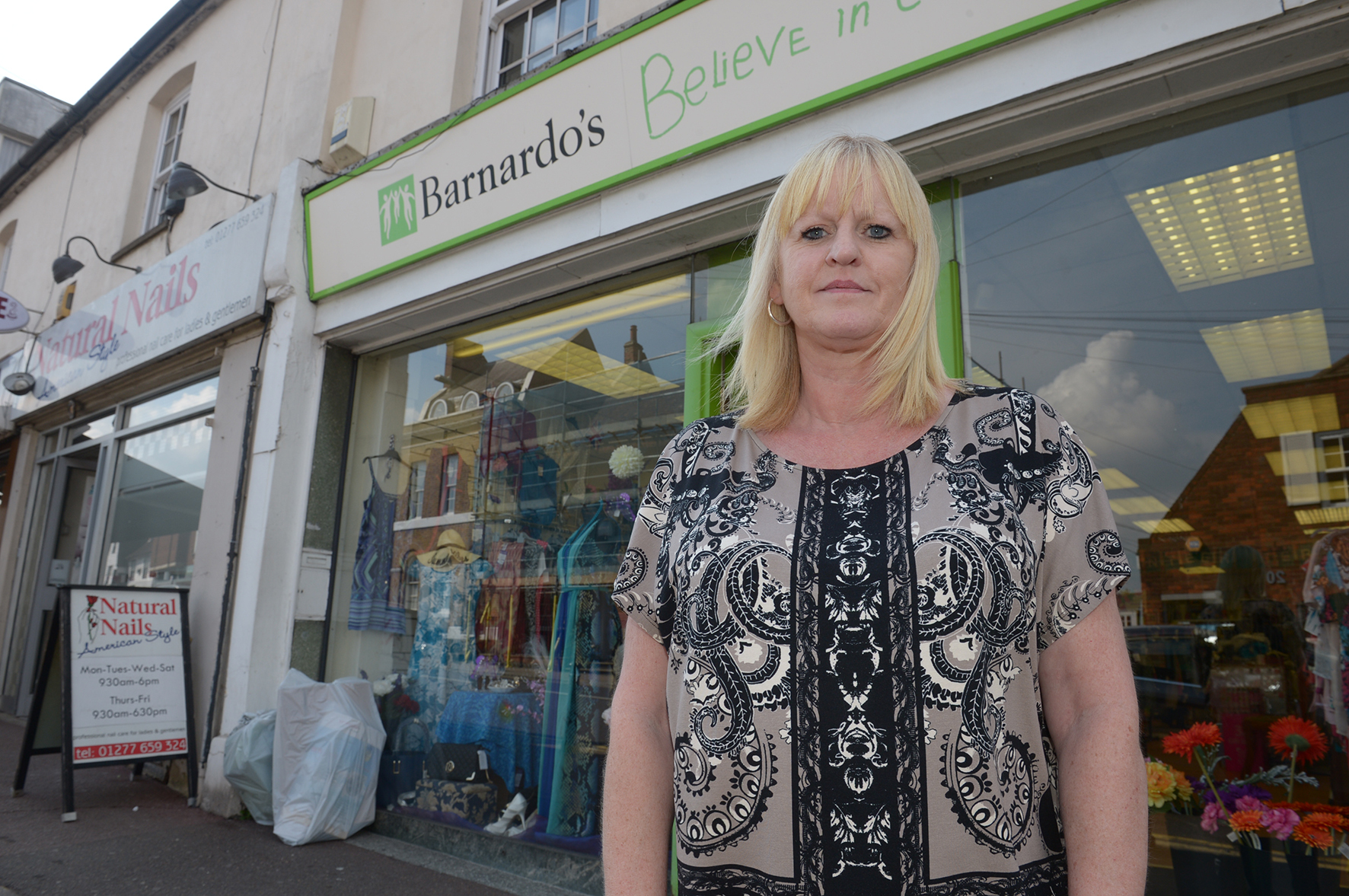 Sue Elms .Barnardo's High Street, Billericay.Thiefs keep on stealing charity donations from outside and are now stealing from inside..