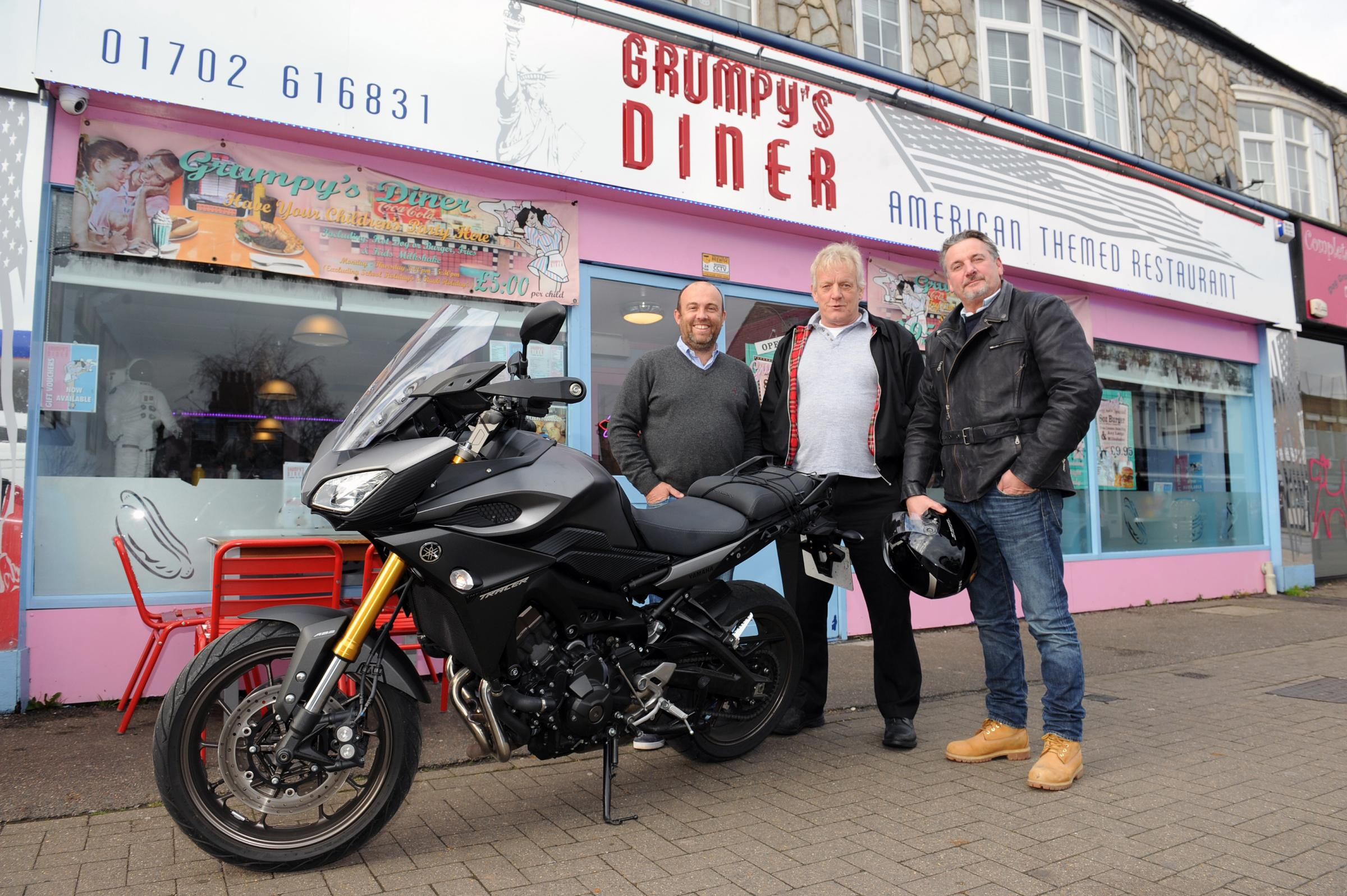 L-r Paul Thompson, chairman of Southend Seafront Traders Association,  Paul van Looy owner of  Grumpy's Diner with biker Tony Spicer with his  Yamaha MT09 TracerGrumpy's Diner, Southchurch Road, SouthendJob Details The seafront traders have pitche