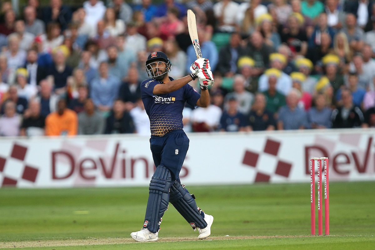 Hitting out - Ravi Bopara in batting action for Essex during their Vitality Blast defeat against Kent Spitfires at Chelmsford Picture: TGS PHOTO/GAVIN ELLIS
