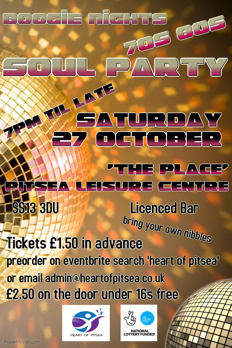 Heart of Pitsea Boogie Nights 70s & 80s Soul Party