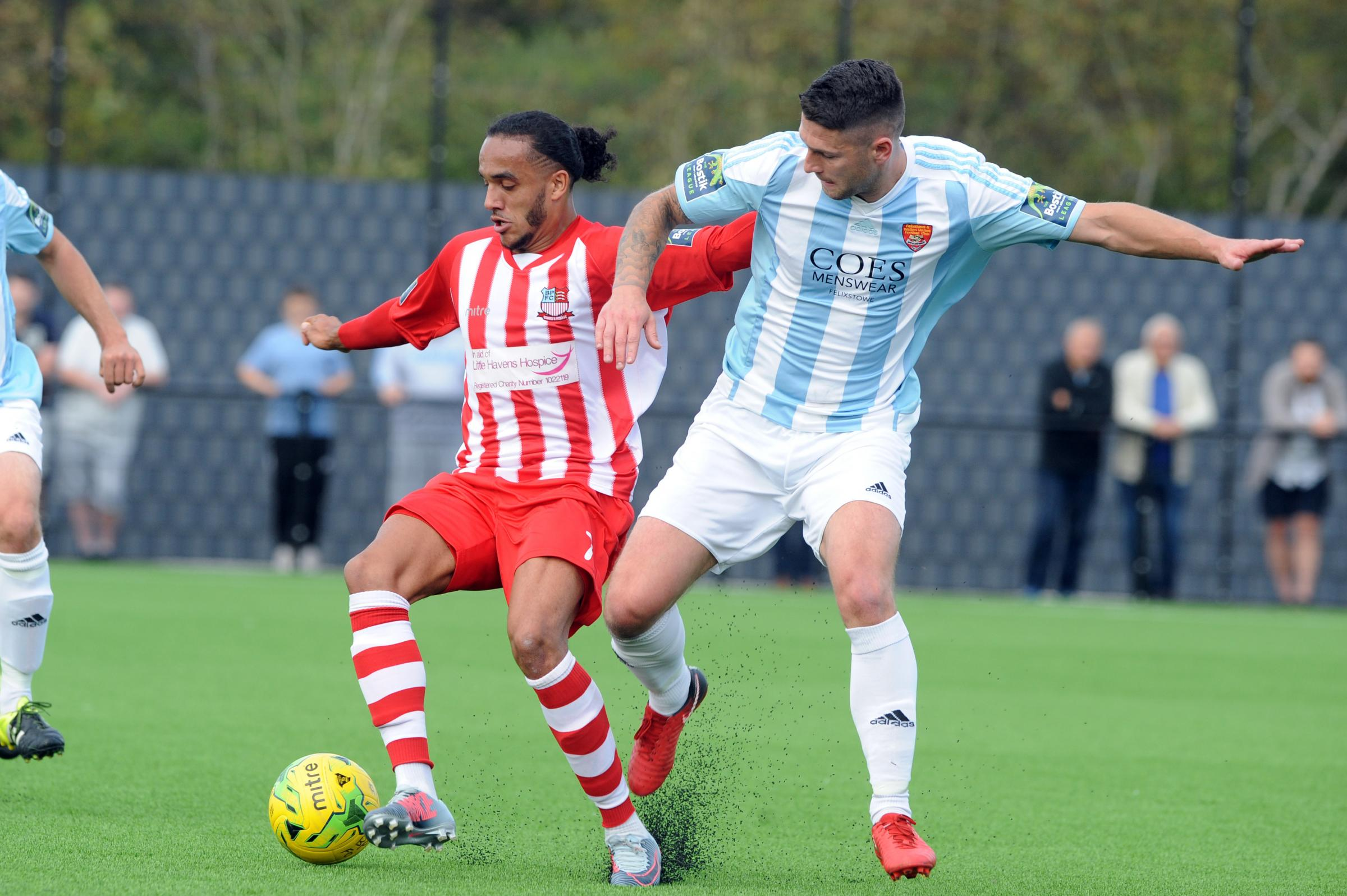 Came back to haunt his former club - Quentin Monville scored the only goal as Bowers & Pitsea overcame Barking Picture: LUAN MARSHALL