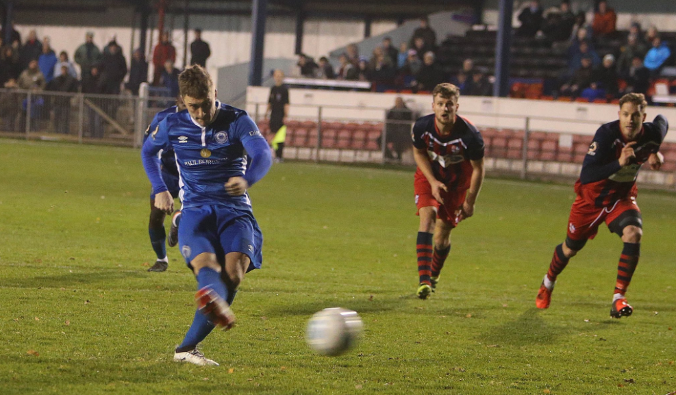 Spot on - Jake Robinson fires home Picture: NICKY HAYES