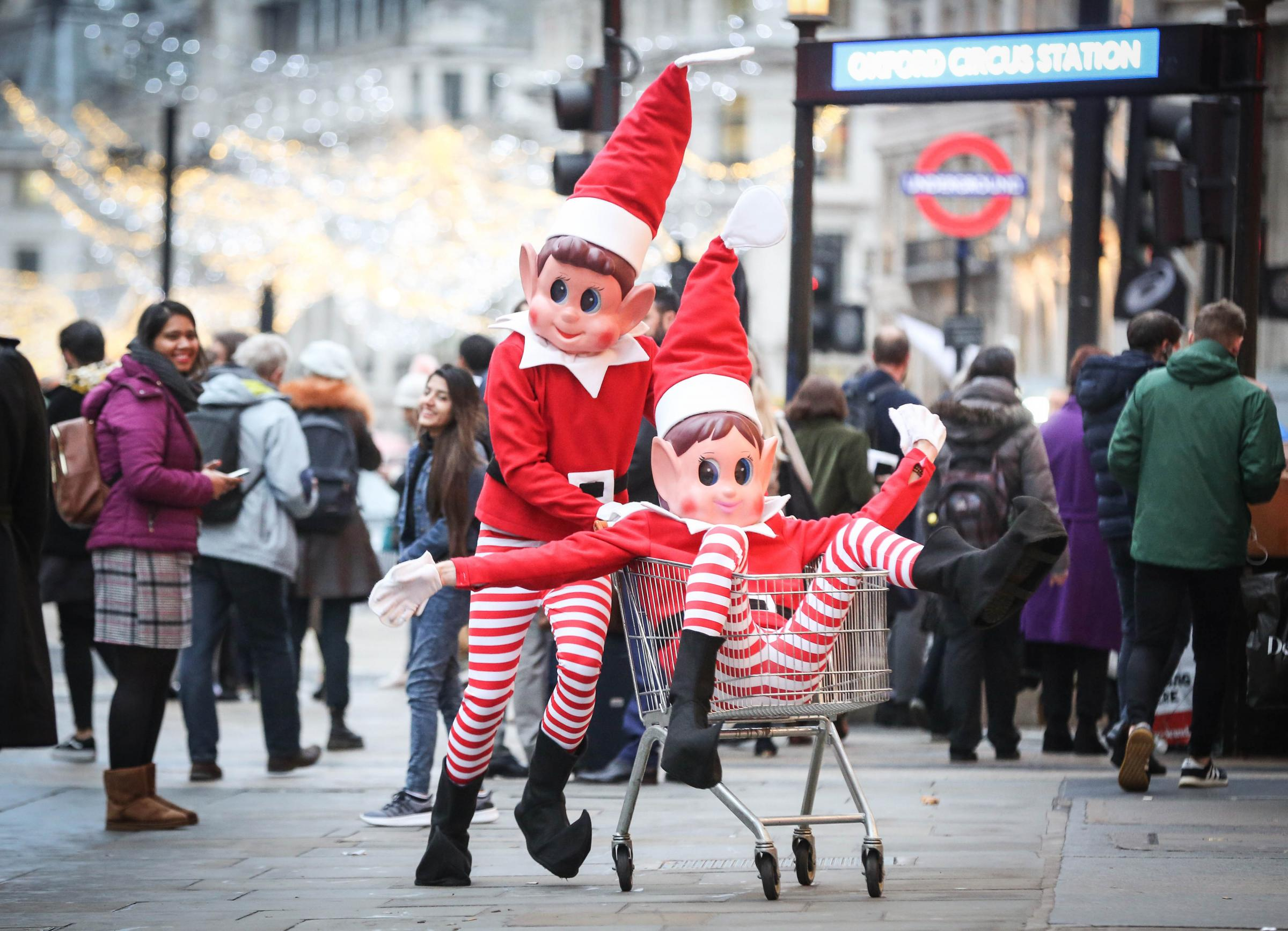 EDITORIAL USE ONLYElfie and Elvie from UK toy brand Elves BehavinÕ Badly cause mischief in Oxford Street in the run up to Christmas. PRESS ASSOCIATION Photo. Issue date: Tuesday December 4, 2018. The festive doll range, which launched in 2017, has