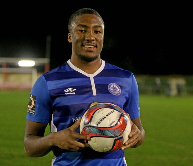 Hat-trick hero - Devonte Aransibia enjoyed a debut to remember as Billericay Town brushed Saffron Walden Town aside Picture: NICKY HAYES