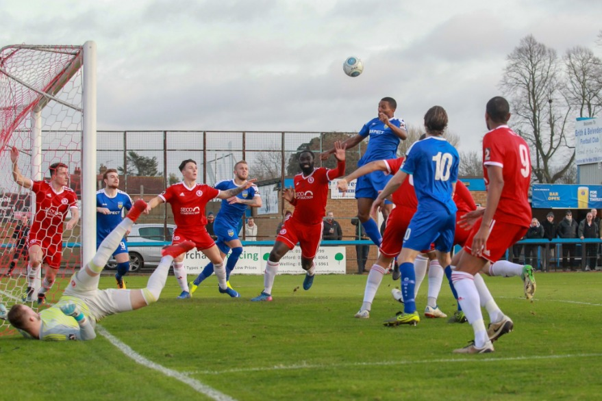 Heading home the winner - Concord Rangers' Tyrone Sterling Picture: PAUL RAFFETY