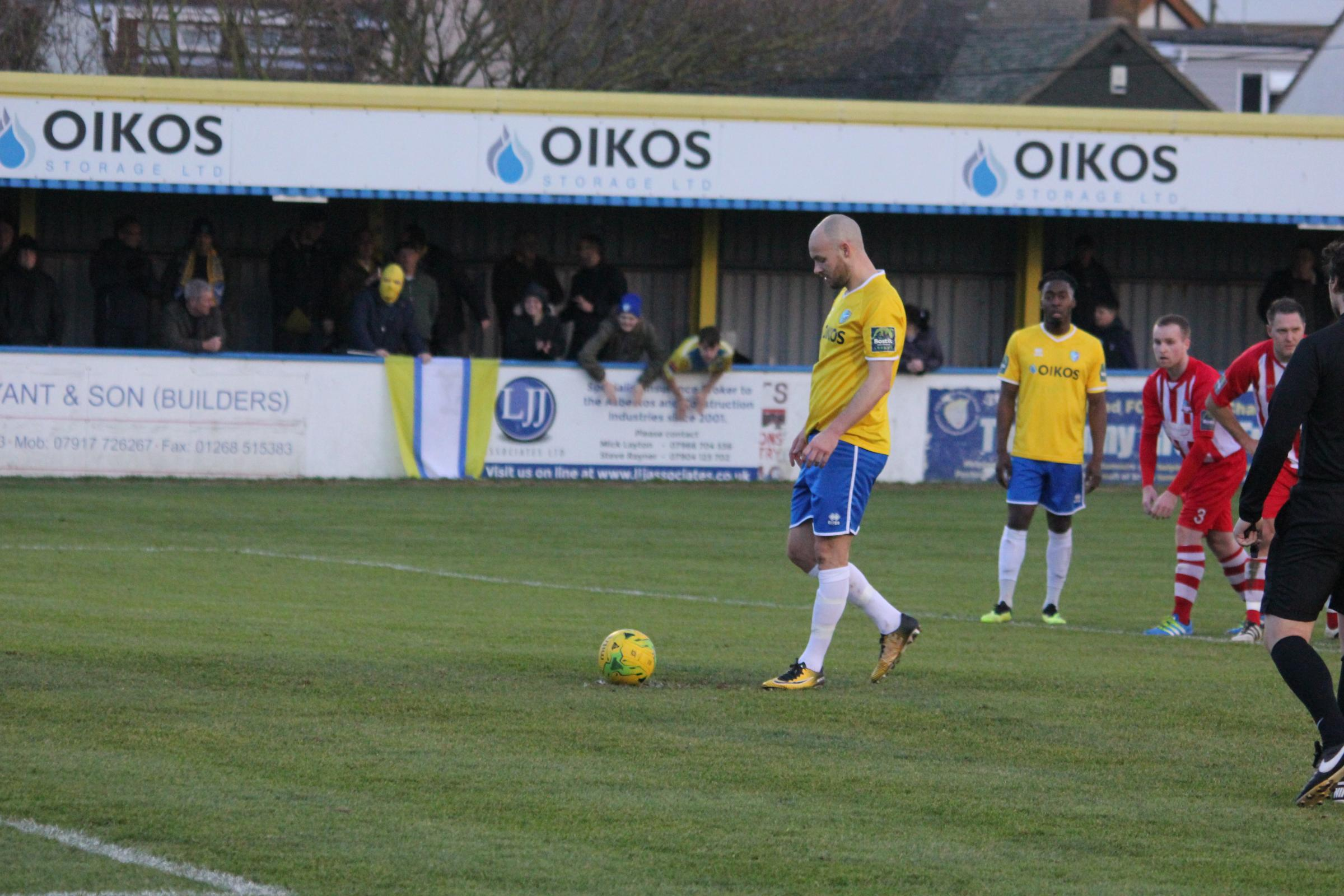 Missed a penalty - Canvey Island striker Martin Tuohy Picture: KIERAN ARGENT