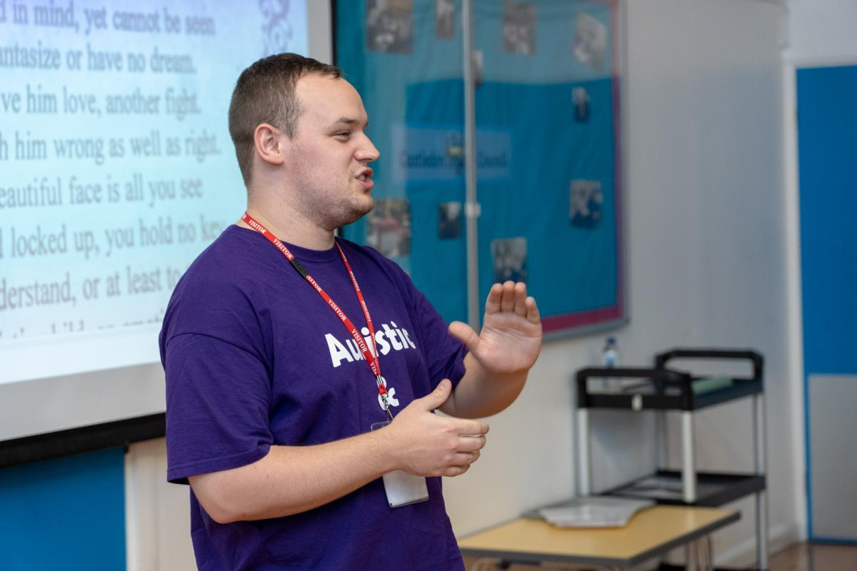 Inspiring - Aston Avery revisits his old school as an autism ambassador