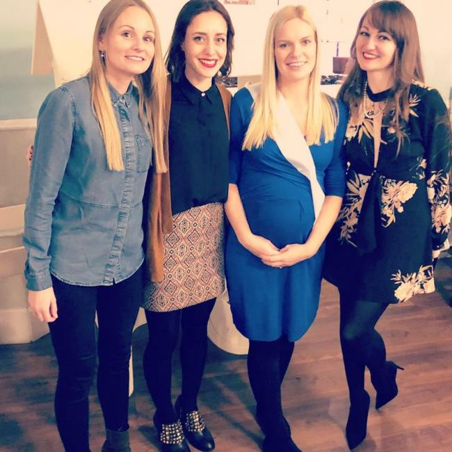 Pregnant Michelle Walford with Clair Walford, Emmie Corbett Walford and Katy Pearson