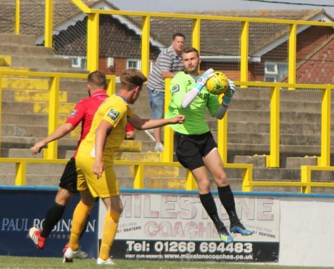 Aiming high - Canvey Island goalkeeper Harry Palmer is training with Blues     Pic: KJA SPORTS IMAGES