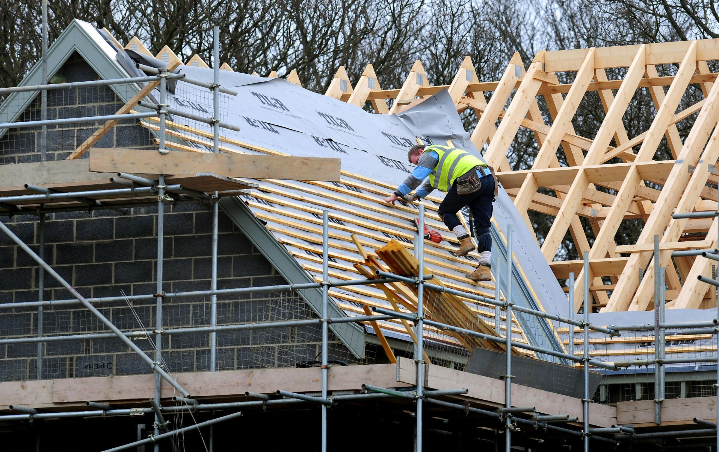 File photo dated 28/2/12 of new houses under construction as house-building activity is at its strongest levels since 2007 as the recovery broadens out beyond London to the rest of the UK, the National House Building Council (NHBC) has reported. PRESS ASS