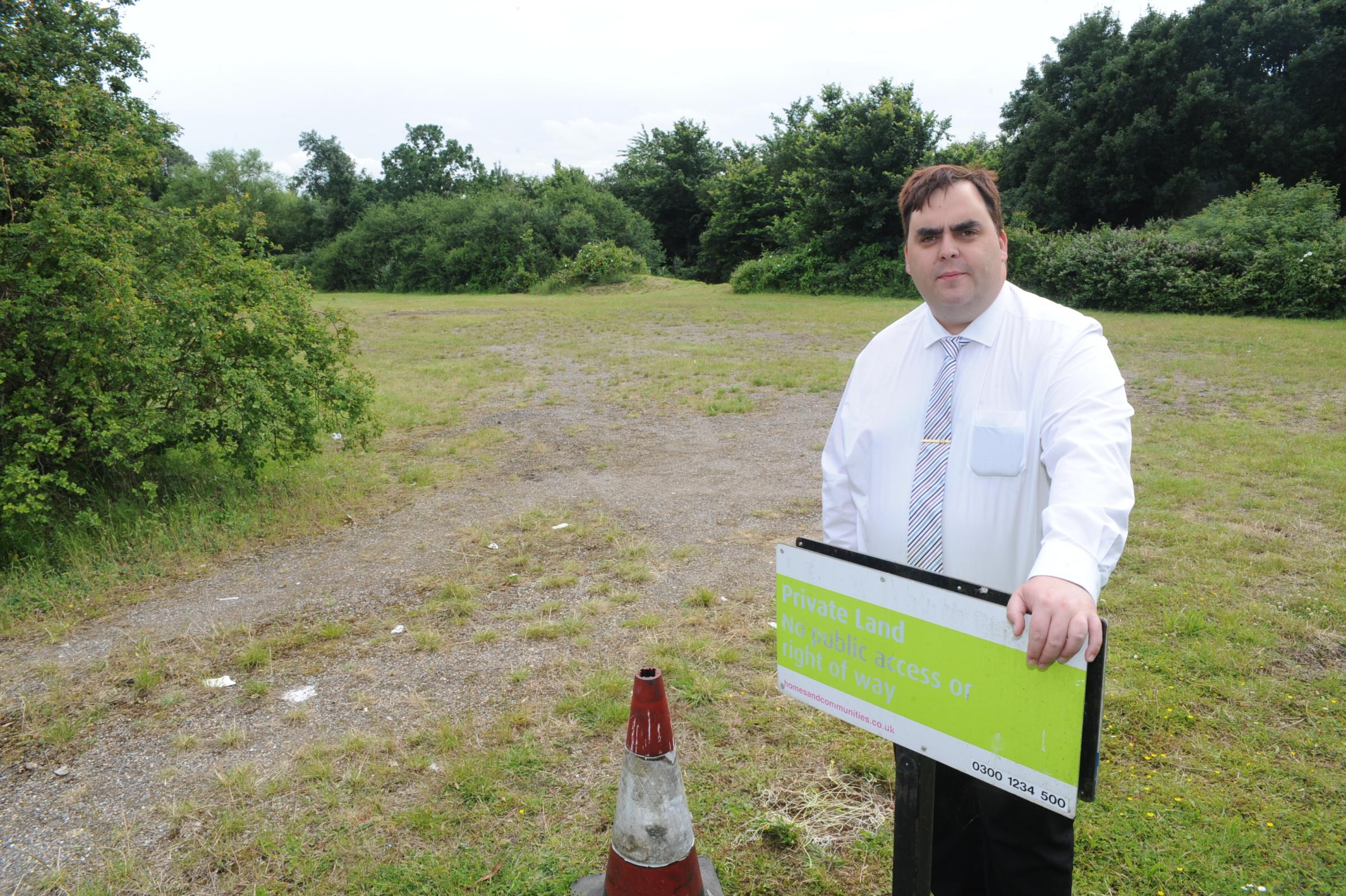 Kerry Smith looking at land thought to be plans for a hotel next to Basildon golf course