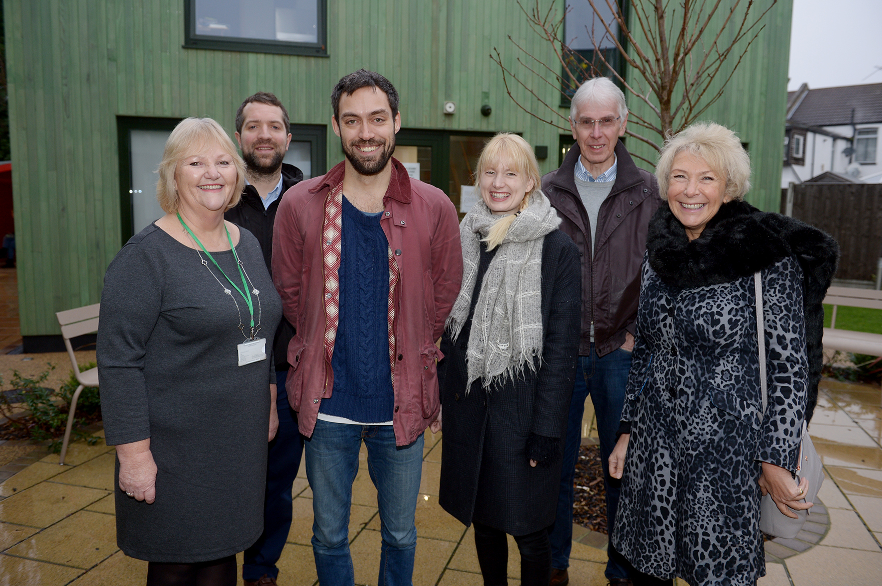 Gill Garwood, Steve Mansfield, Alex Hassell, Emma King, Peter Thorne and Nicky Houston.Bradbury Centre, Harp.Actor Alex Hassell and Emma King are  visiting the centre. Alex is a patron of the charity.. ..