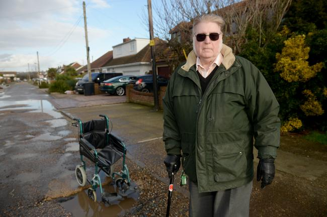 George Whatley . Lumberg Road, Canvey .George's wife uses a wheelchair and feels like a 'prisoner in her own home' because the road is in such a hideous state. ..