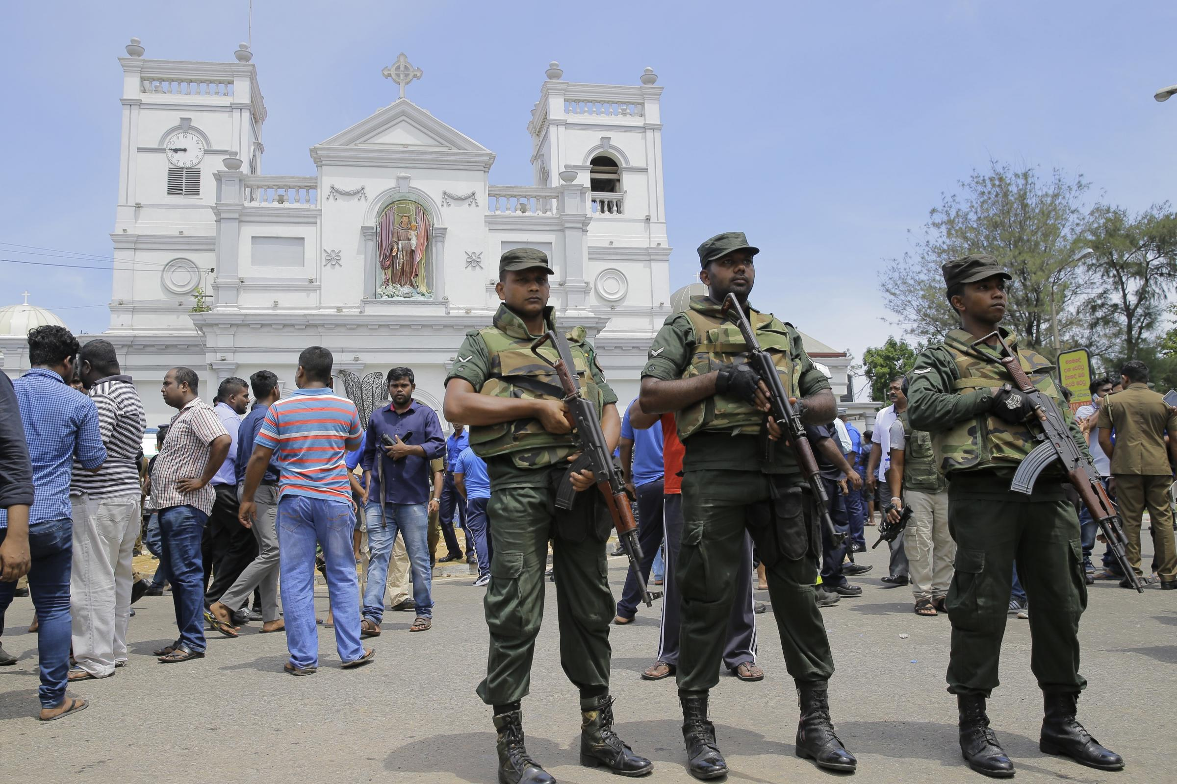 Sri Lankan Army soldiers secure the area around St Anthony's Shrine after a blast in Colombo
