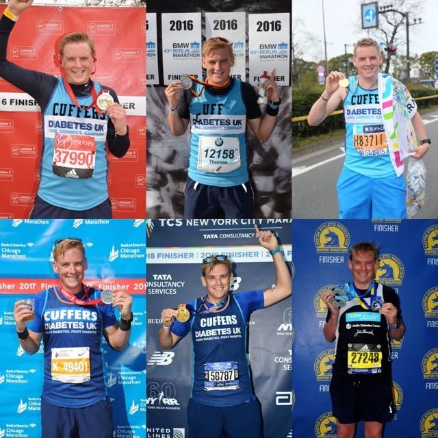 Huge achievement - Thomas Cufley with all the medals he has received from running the six major marathons